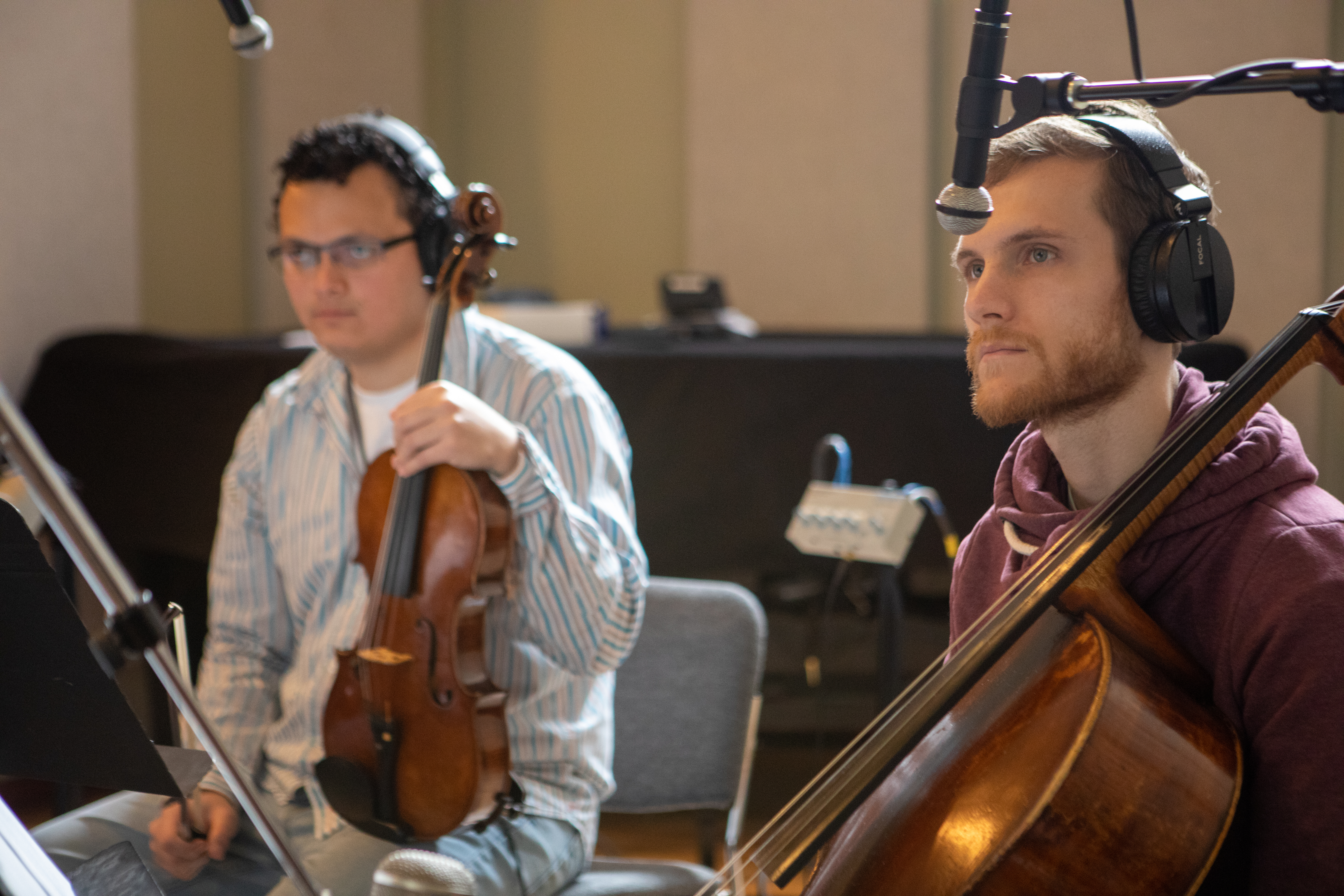 Strings Day for The Love Bugs score, Mario Rivera violist, Eric Haugen cellist