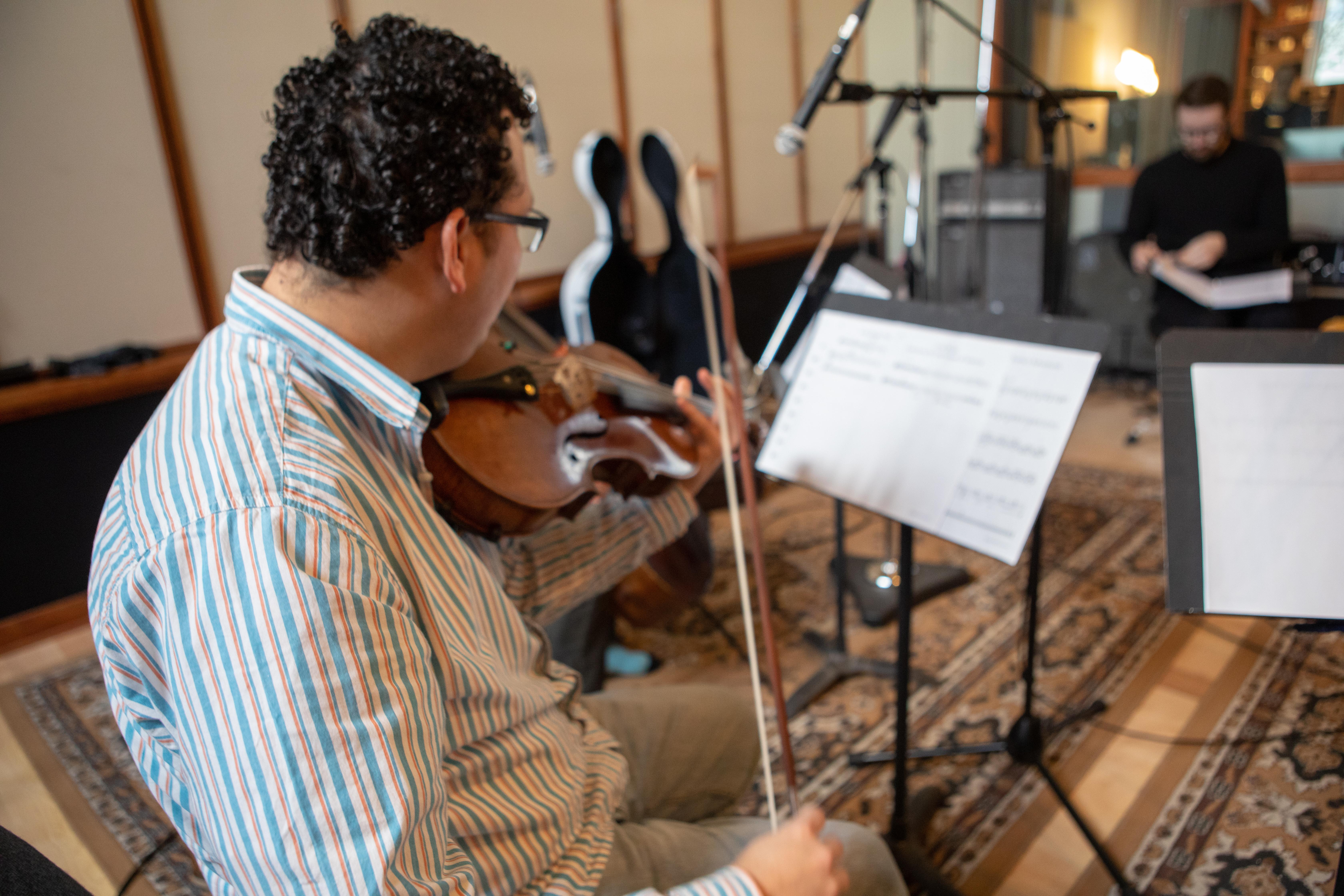 Strings Day for The Love Bugs score, Mario Rivera violist