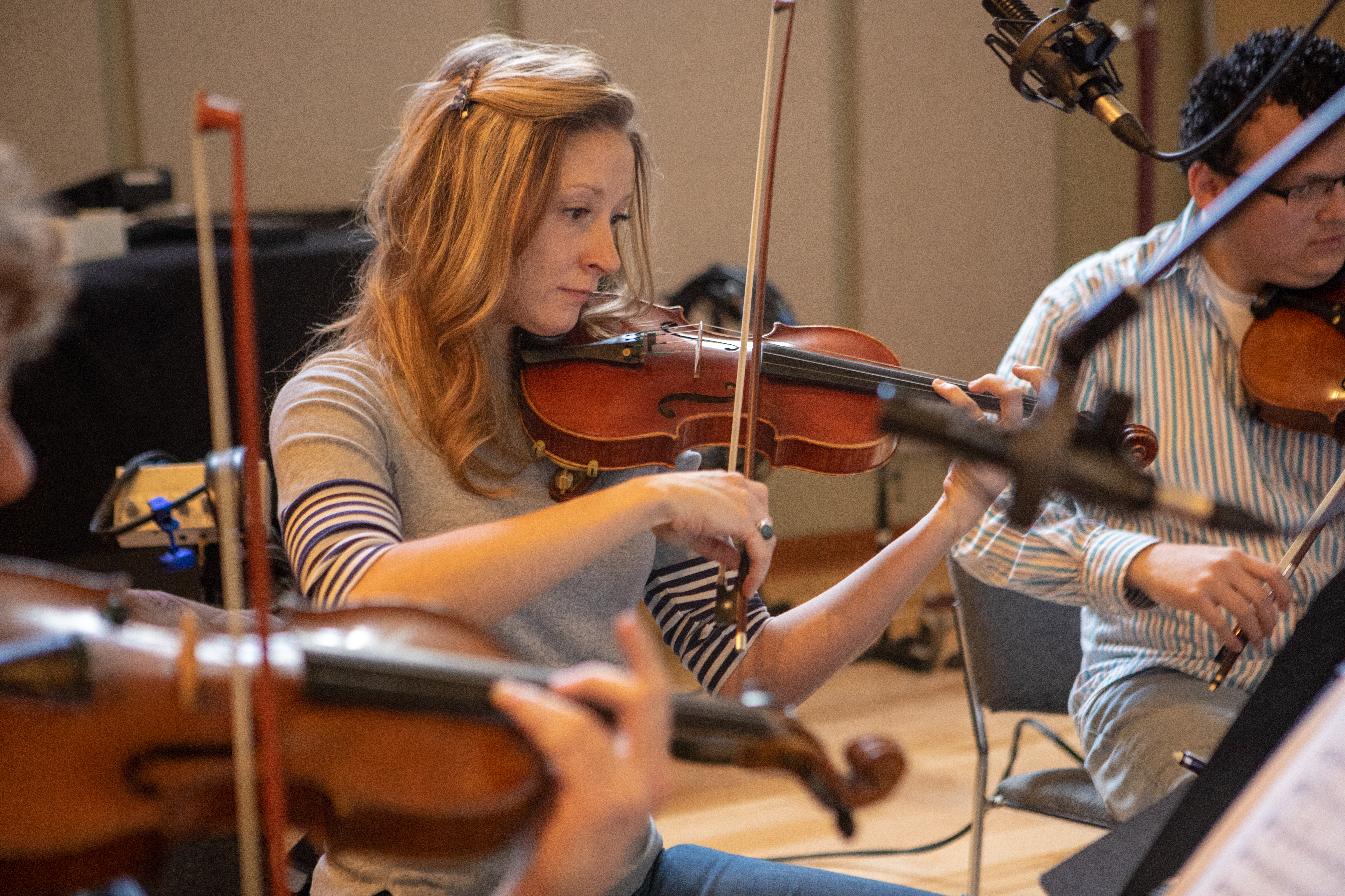 Strings Day for The Love Bugs score, Renée Patten violinist