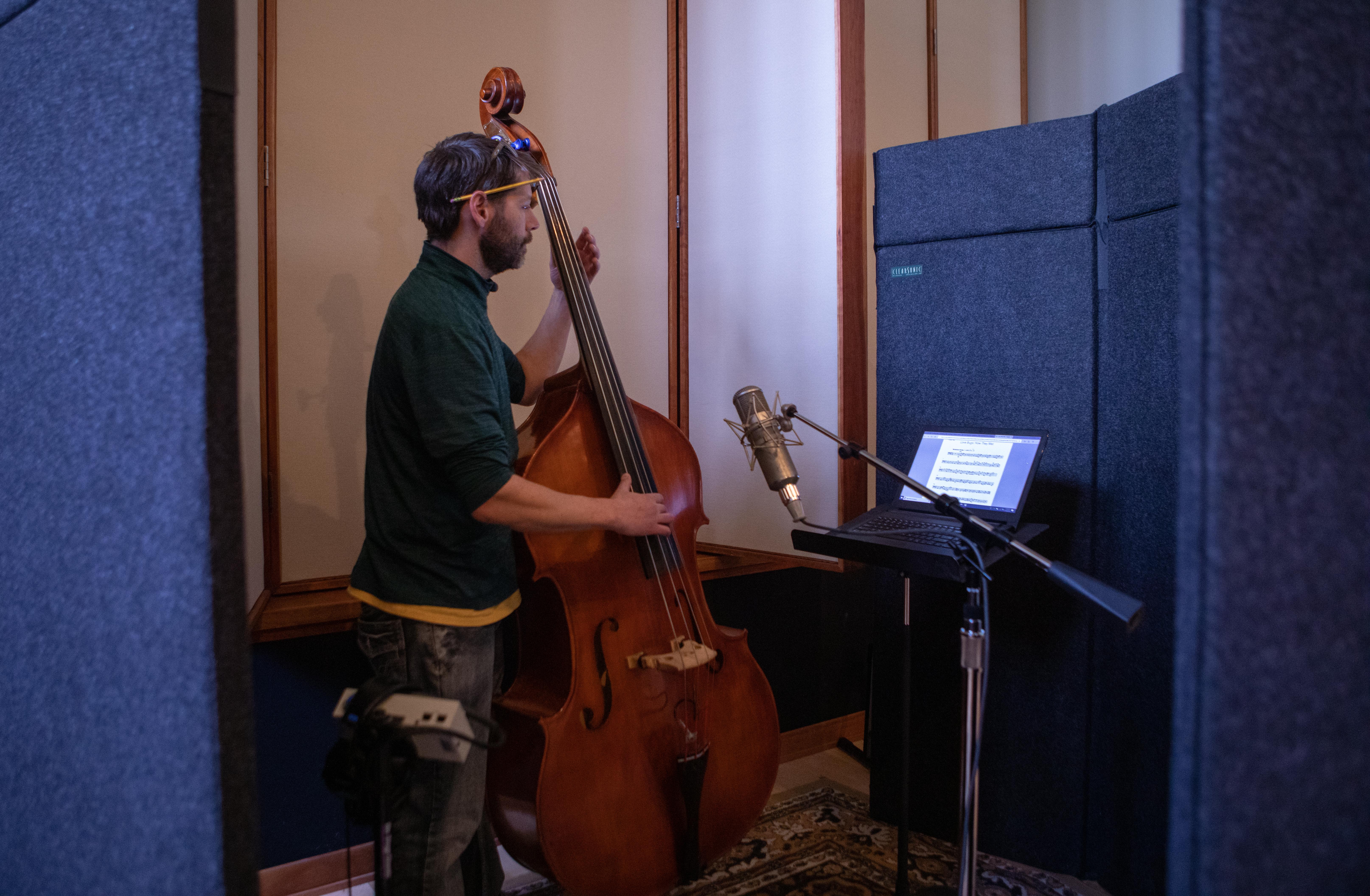 Kalin Capra, bassist, recording for Love Bugs score